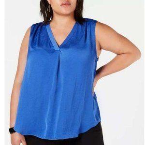 NWT ALFANI 2X Blue Sateen Popover V-neck Blouse